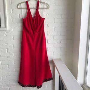 Lulu's red jumpsuit with polka dot wide leg medium